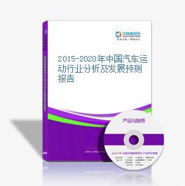 2015-2020年中國汽車運動行業分析及發展預測報告
