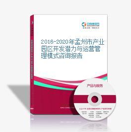 2016-2020年孟州市产业园区开发潜力与运营管理模式咨询报告