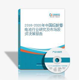 2016-2020年中国铅酸蓄电池行业研究及市场投资决策报告