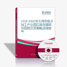 2016-2020年大同市电子加工产业园区规划调研与招商引资策略咨询报告
