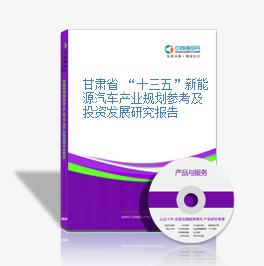 """甘肃省 """"十三五""""新能源汽车产业规划参考及投资发展研究报告"""