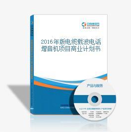 2016年版电缆载波电话增音机项目商业计划书