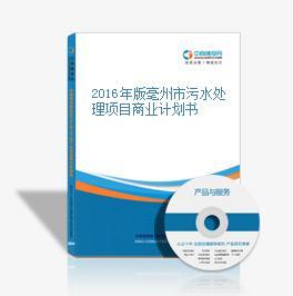 2016年版亳州市污水处理项目商业计划书