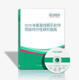 2016年版游戏娱乐软件项目可行性研究报告